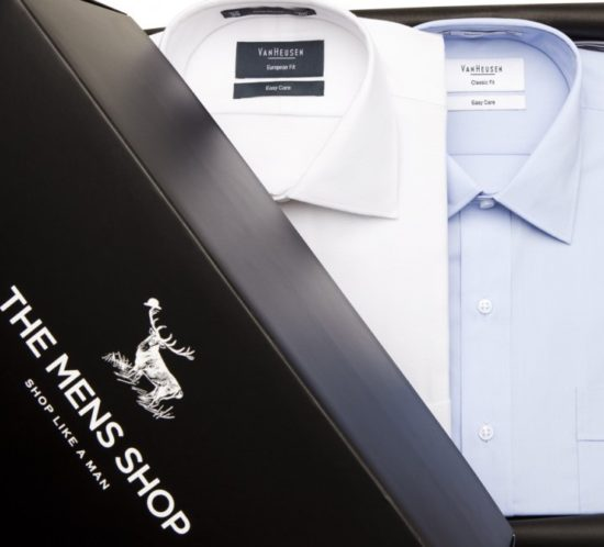 Clothing sales packaging the mens shop