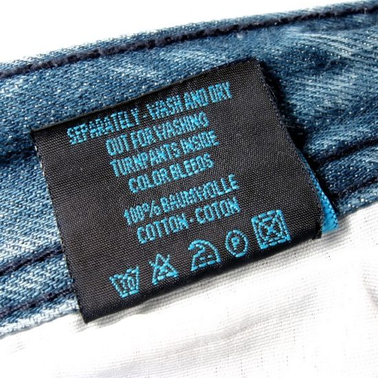 Clothing care label woven