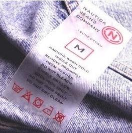 clothing care label adhesive nautica