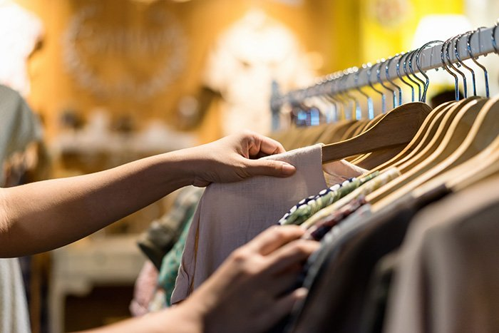 clothes in retail shop